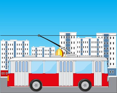 Vector illustration of the transport trolley bus in city