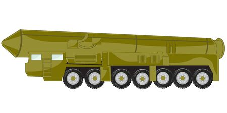 Vector illustration of the car tractor with ballistic rocket