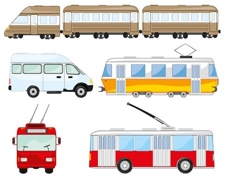 Town and public transport on white background is insulated