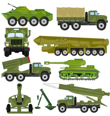 Vector illustration of the weapon and transport facilities for army