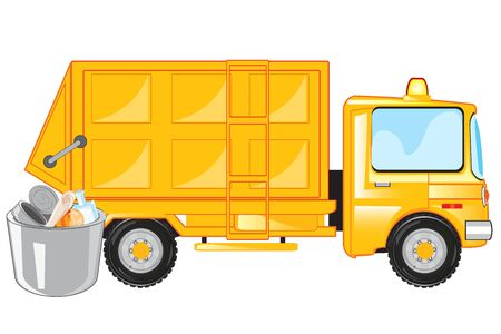 Special car for loading and transportation departure and rubbish cartoon