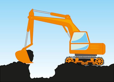 Special technology excavator digs pit in ground Ilustracja
