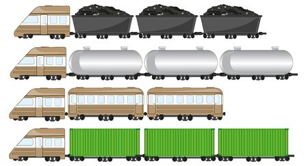 Vector illustration of the freight train with tank and cargo 版權商用圖片 - 137954312