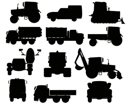 Special transport facilities silhouettes on white background is insulated