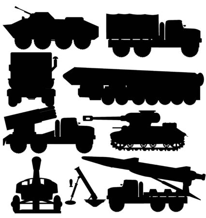 Vector illustration silhouette military cars with rocket and tank