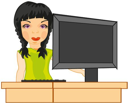 Girl for computer on white background is insulated
