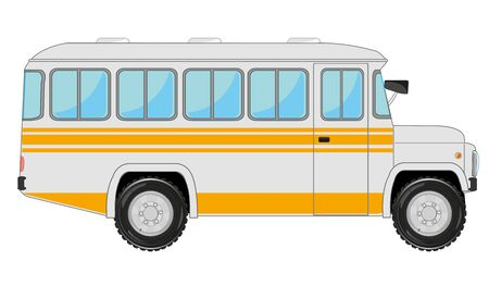 Retro bus on white background is insulated Ilustracja