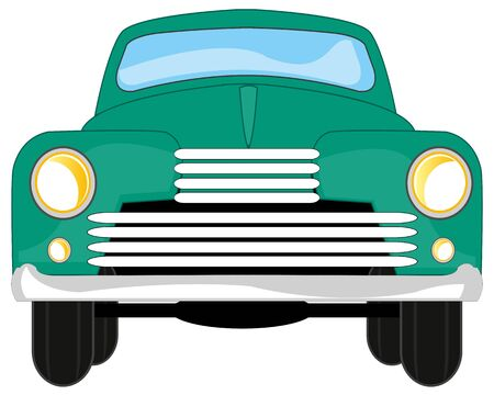 Vector illustration passenger retro car type frontal 版權商用圖片 - 138877373