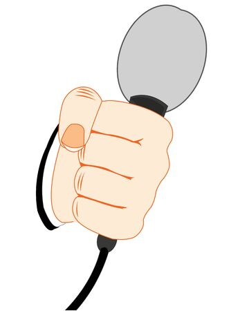 Vector illustration of the hand of the person with mike