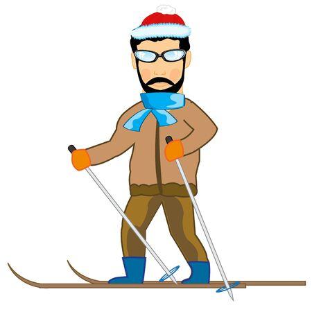 Vector illustration of the cartoon men athlete on ski