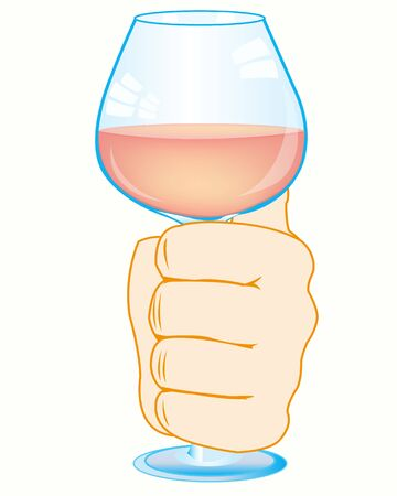 Vector illustration of the hand of the person with goblet blame on white background is insulated Illustration