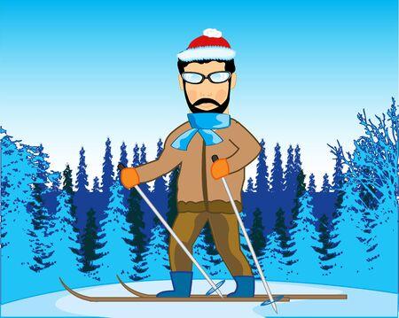 Winter wood and man on ski runs on snow 向量圖像
