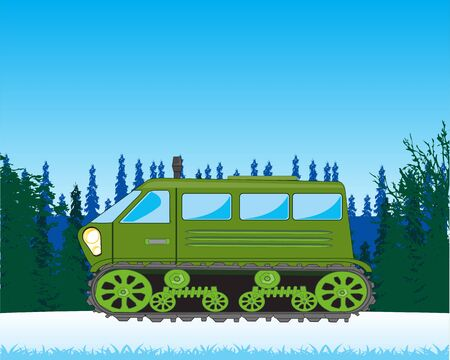 Vector illustration of the transport raised passabilities in snow wood