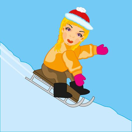 Girl rides on sled with hutches in winter