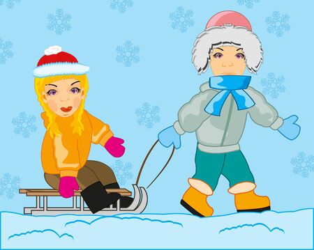 Boy rolls girl on sled in winter 版權商用圖片 - 139986162
