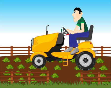 Vector illustration of the cartoon of the garden tractor processing ground on area Ilustracja