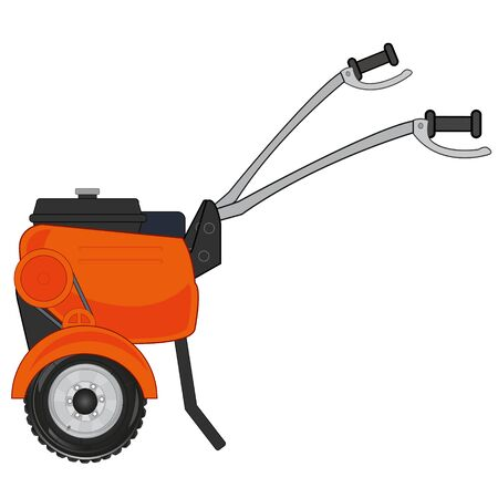 Technology for vegetable garden and garden walking tractor on white background is insulated