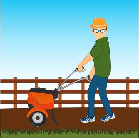 Vector illustration of the cartoon of the person with walking tractor working at vegetable garden