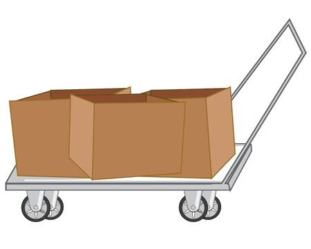 Cardboard boxes on pushcart on white background is insulated Ilustracja