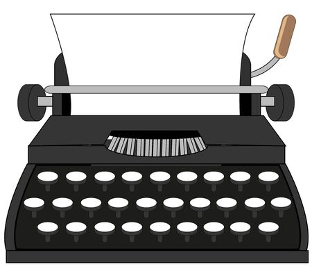 Vector illustration of the cartoon of the outdated typewriter