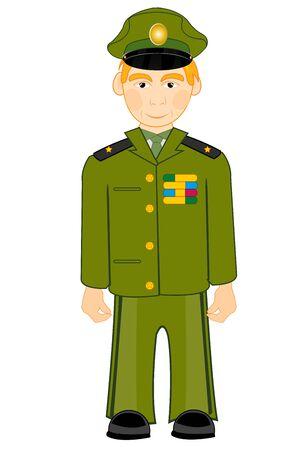 Vector illustration of the cartoon men in form military Illustration