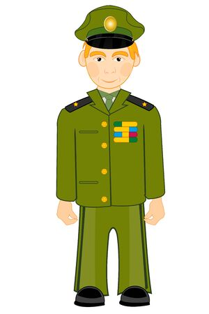Vector illustration of the cartoon men in form military Ilustrace