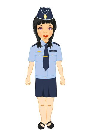 Beautiful girl in form of the police bodies drawing
