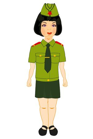 Vector illustration of the young beautiful girl in year military form