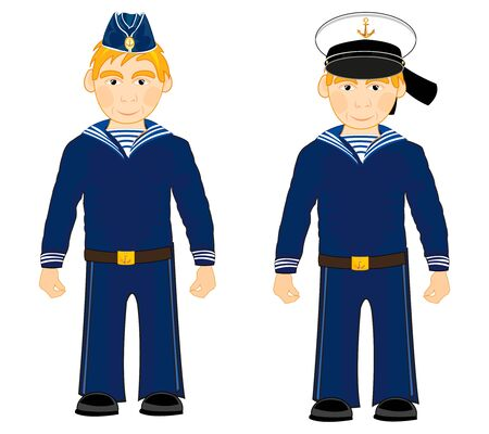Sailors in form on white background is insulated