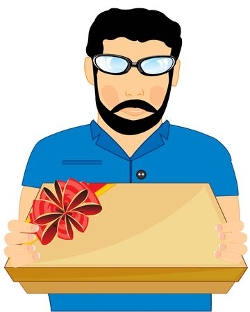 Vector illustration young men with gift by box in hand Illustration