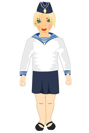 Making look younger girl in form of the sailor and oversea cap