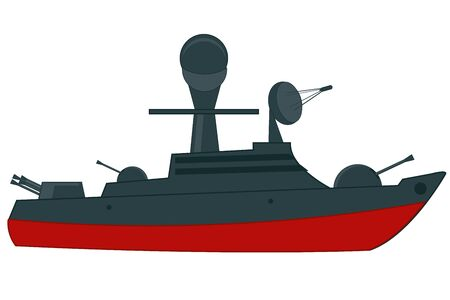 Vector illustration of the military cruiser with weapon Illustration