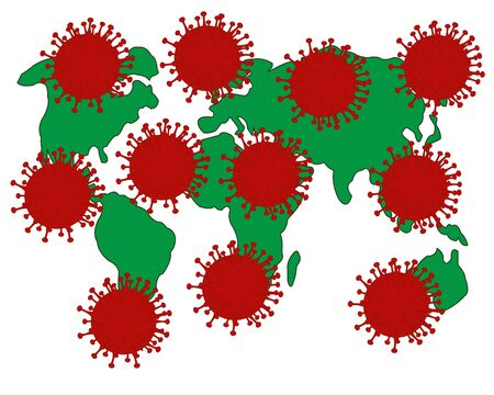 World polluted coronavirus on white background is insulated