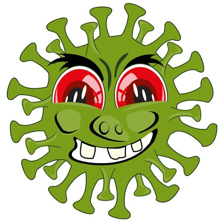 Vector illustration to comic green infection coronavirus Ilustrace