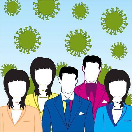 Coronavirus épidémique et beaucoup de gens des hommes et des femmes