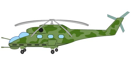 Military helicopter on white background is insulated Illustration