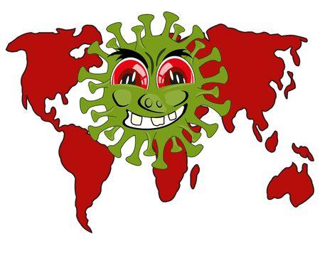 Infection coronavirus and card of the world cartoon Illustration