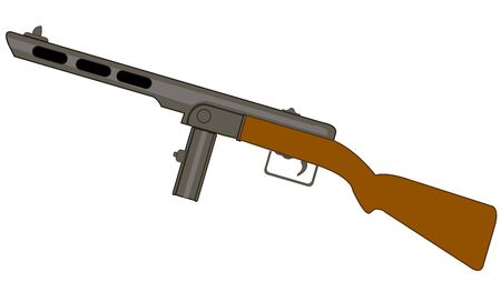 Automatic weapon automaton on white background is insulated