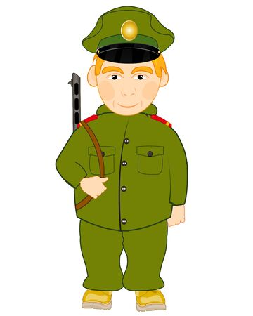 Vector illustration of the soldier with automaton