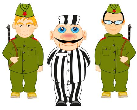 Vector illustration two soldiers to soviet army and arrested criminal