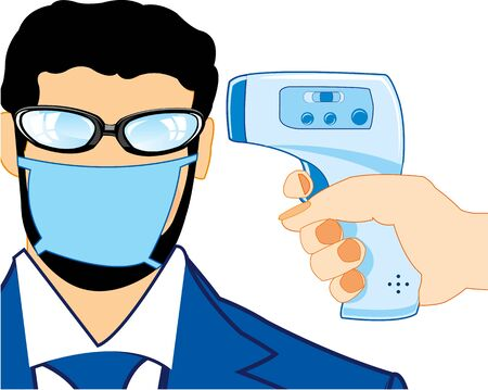 Man in mask measure temperature by noncontact thermometer