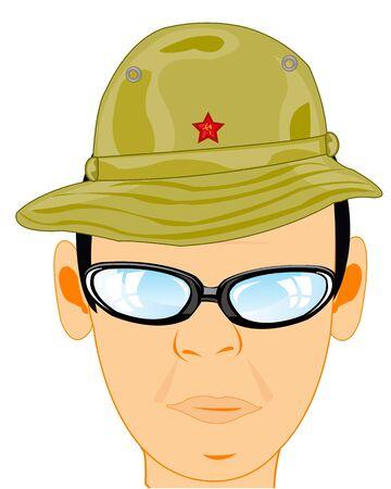 Man military panama in headdress for warm countries 일러스트