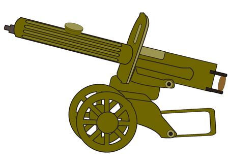 Old-time soviet machine gun max vector illustration