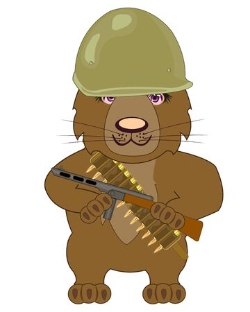 Cartoon bear with weapon and in helmet