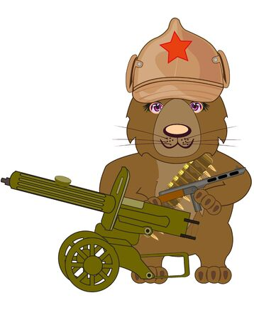 Russian bear revolutionary with machine gun cartoon 스톡 콘텐츠 - 149634293