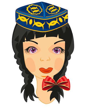 Vector illustration of the young girl in uzbek national headdress 일러스트