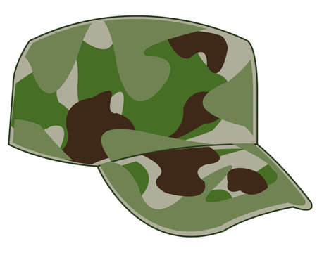 Vector illustration of the cap military painted in camouflage