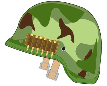 Helmet of the military colour camouflage on white background is insulated