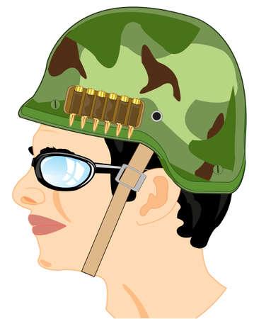 Vector illustration of the portrait of the soldier in defensive helmet 일러스트