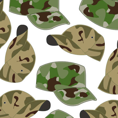 Headdress cap colour camouflage on white background is insulated 일러스트
